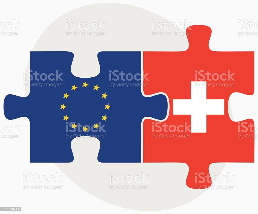 European Union and Switzerland Flags vector art illustration
