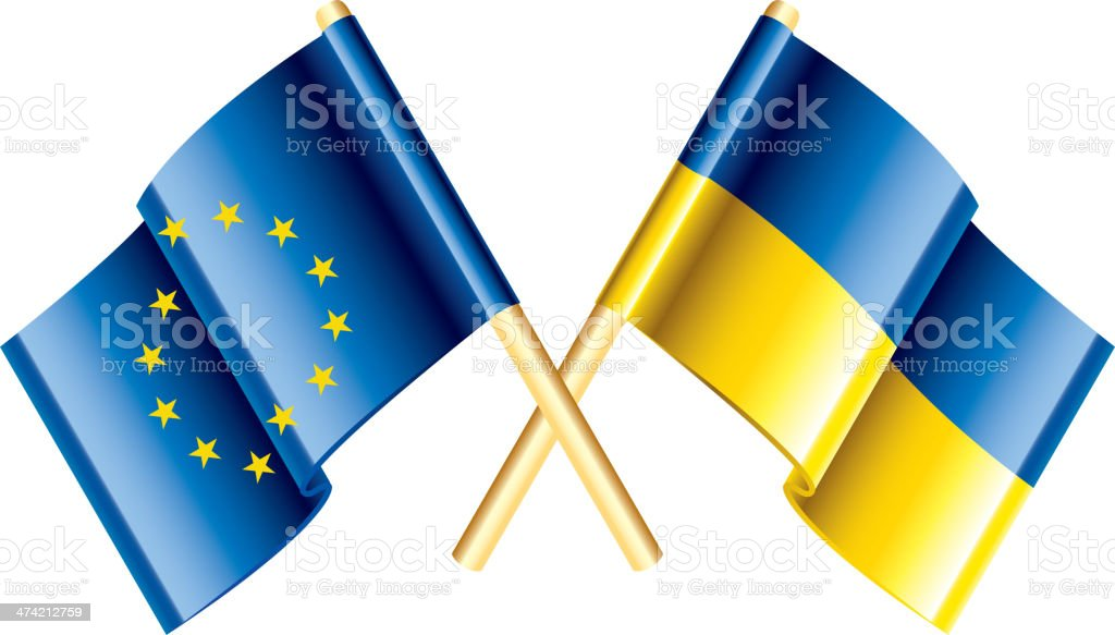 European Union and Ukraine vector flags royalty-free stock vector art