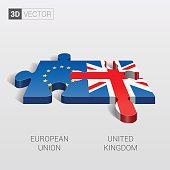 European Union and United Kingdom Flag. 3d vector puzzle.