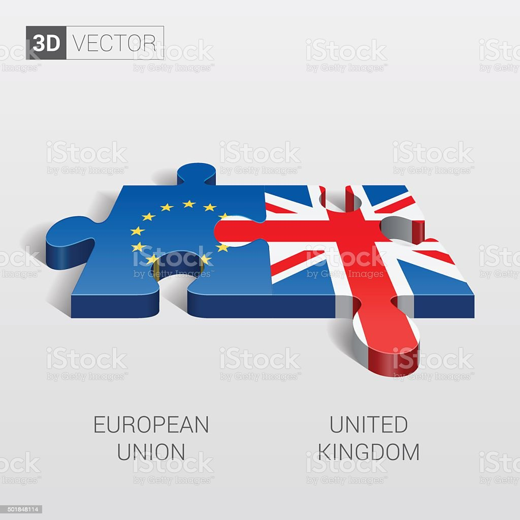 European Union and United Kingdom Flag. 3d vector puzzle. vector art illustration