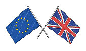 European Union and United Kingdom flags drawing - brexit allegory - vintage like illustration of flag of EU. Monochromatic banner contour on white background.