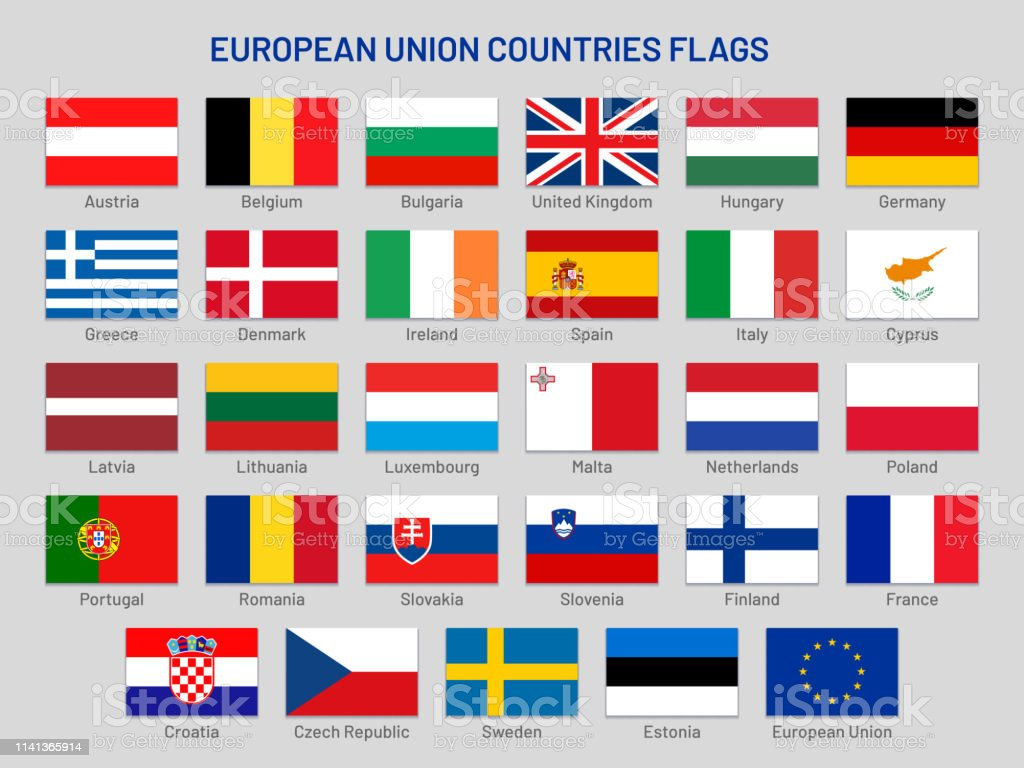 European Union Countries Flags Europe Travel States Eu Member Country Flag Vector Set Stock Illustration Download Image Now Istock