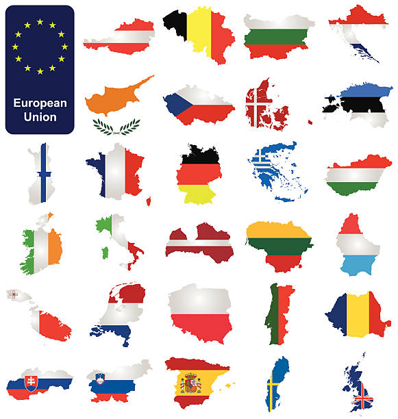 European Union Countries Flags of the member countries of the European Union overlaid on outline map isolated on white background lithuania stock illustrations