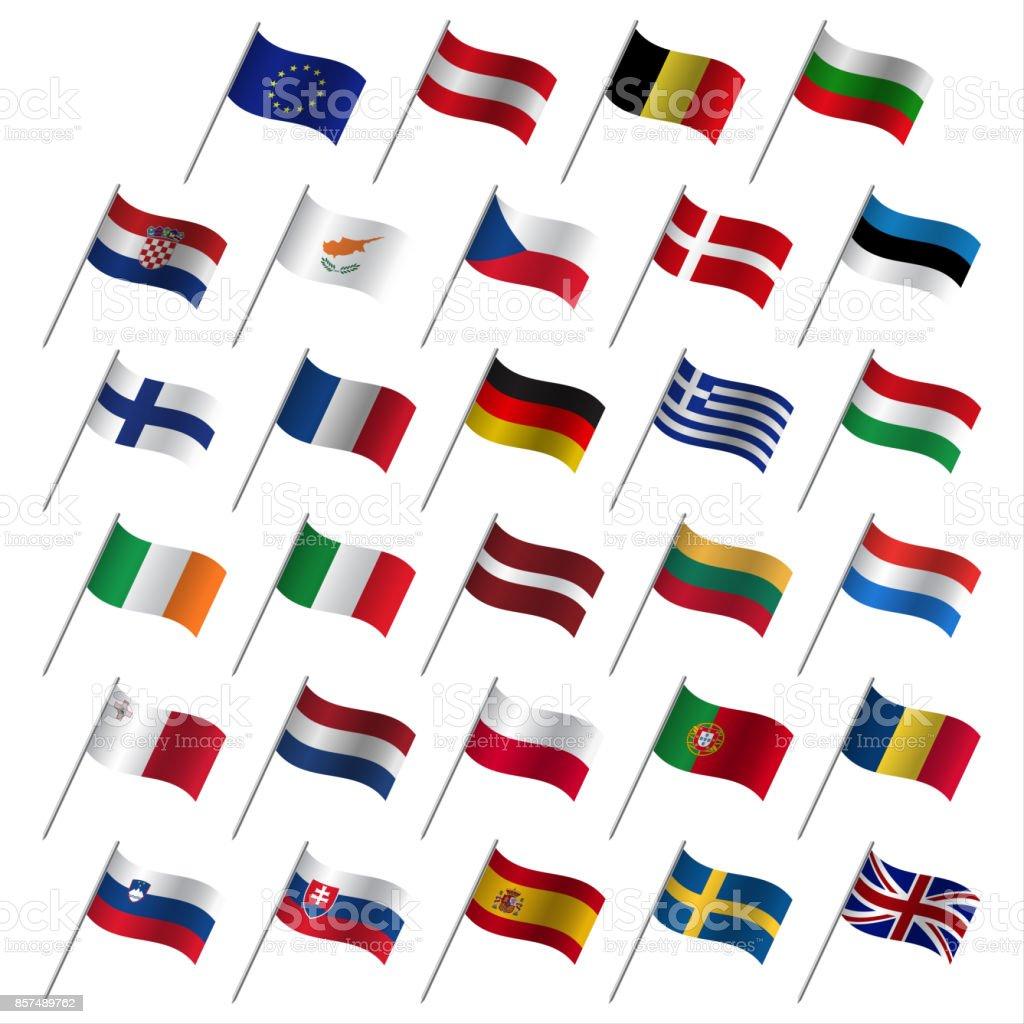 Europäischen Union Länderflaggen 2017, Mitgliedstaaten EU, brennende Fahnen isoliert auf weißem Hintergrund – Vektorgrafik