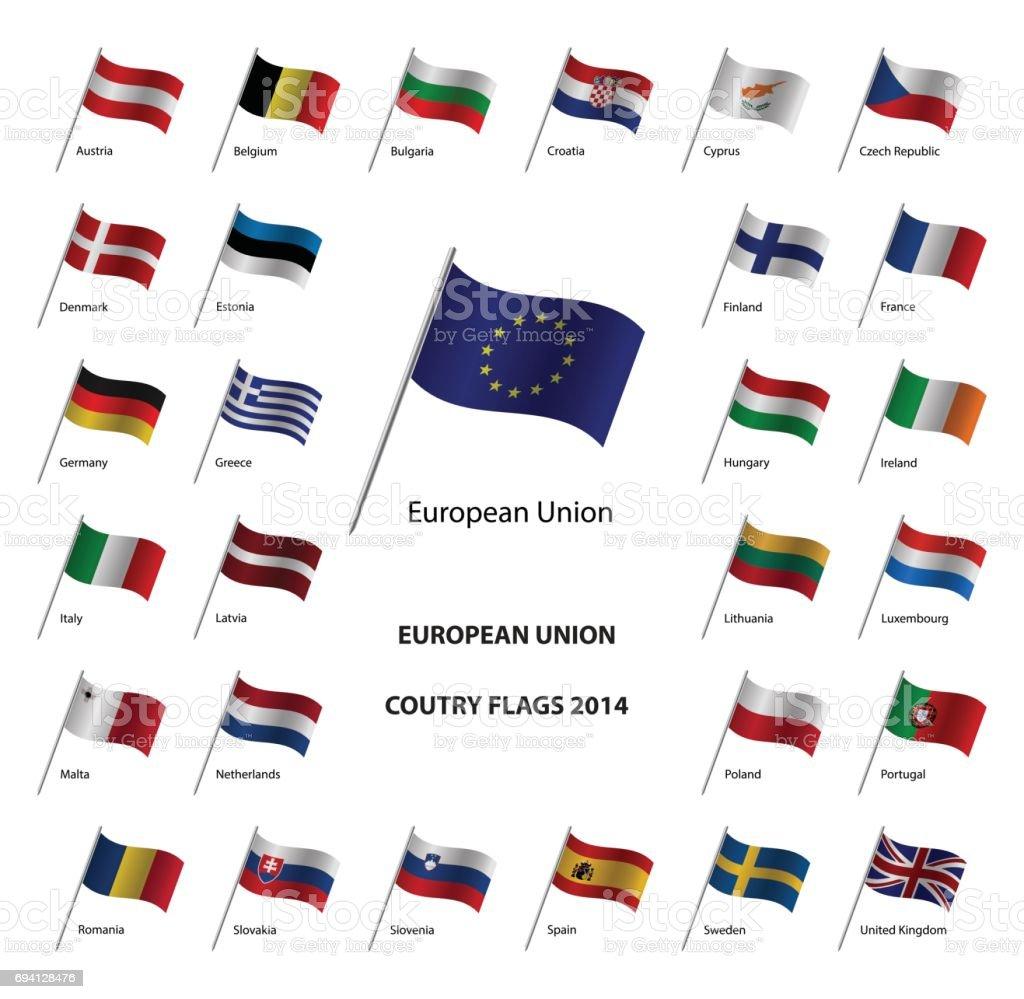 Banderas de país de la Unión Europea, Estados miembros de EU - ilustración de arte vectorial