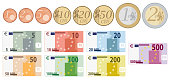 european union currency full set