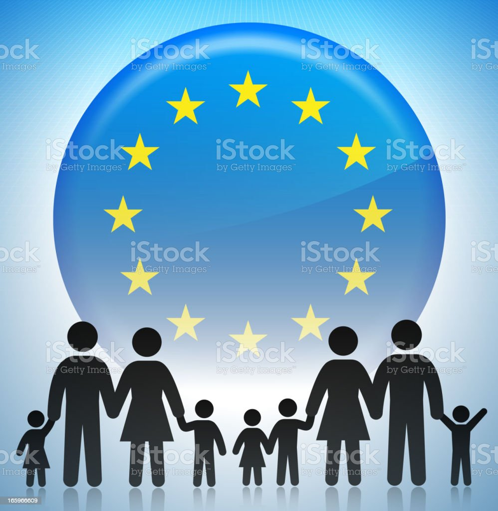 European Union Family Concept Stick Figures royalty-free european union family concept stick figures stock vector art & more images of adoption