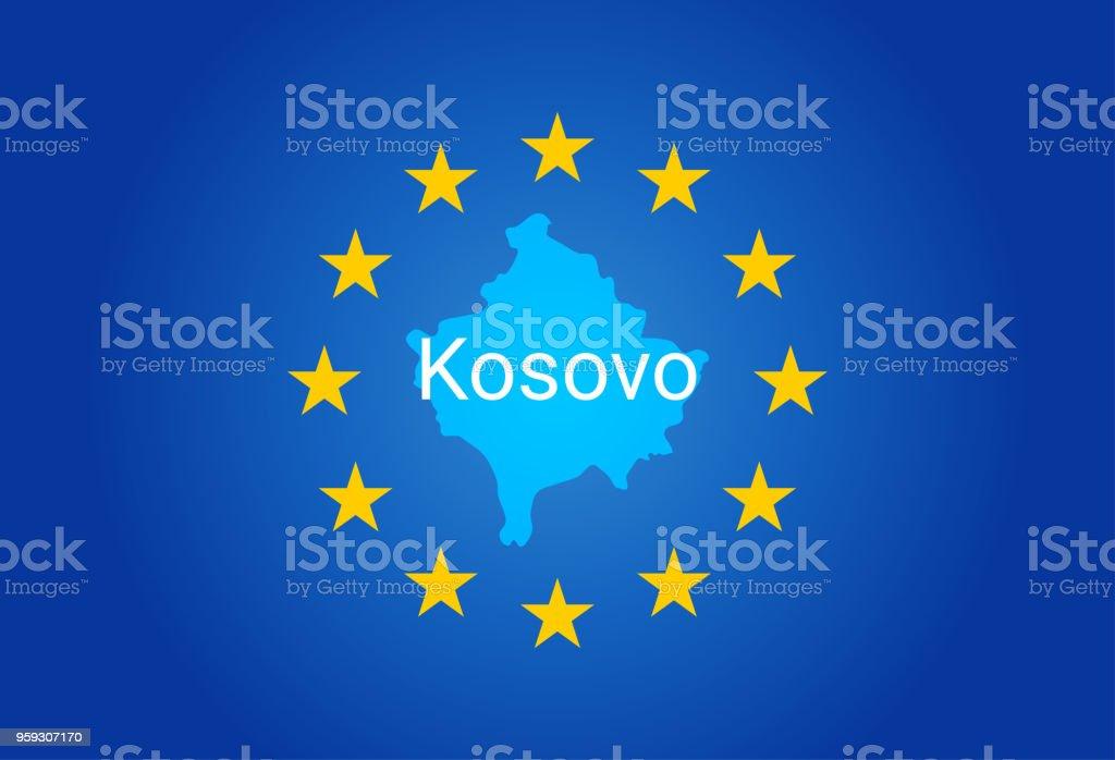 Eu European Union Flag And Map Of Kosovo Vector Stock Vector Art