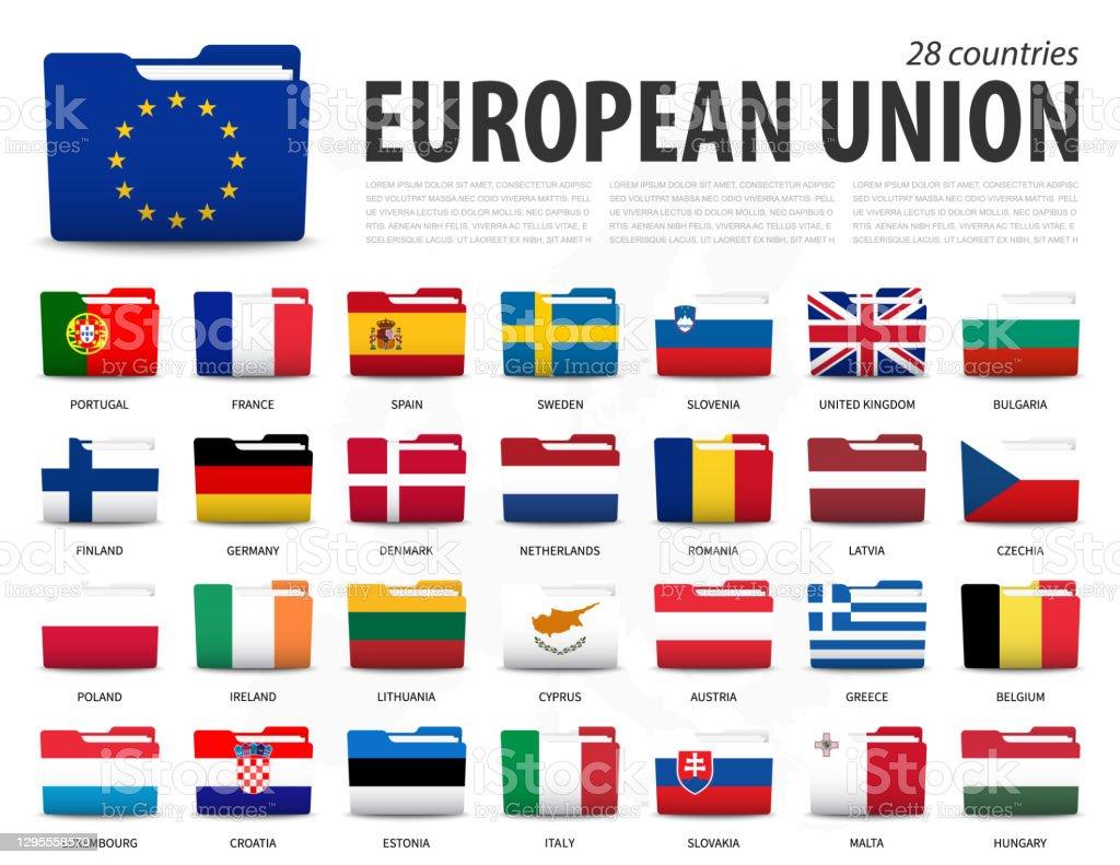 Europese Unie vlag ( EU ) en het lidmaatschap op europa kaart achtergrond . Het ontwerp van mapvlaggen . Vector. - Royalty-free Attaché vectorkunst