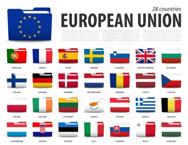 stockillustraties, clipart, cartoons en iconen met europese unie vlag ( eu ) en het lidmaatschap op europa kaart achtergrond . het ontwerp van mapvlaggen . vector. - netherlands map