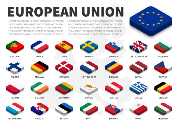 European union ( EU ) flag and membership on europe map background . Isometric top design . Vector . vector art illustration