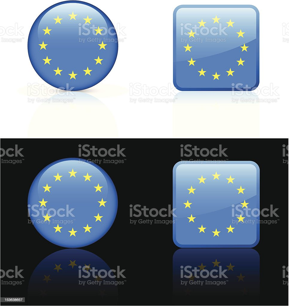 European Union Flag Button Set vector art illustration