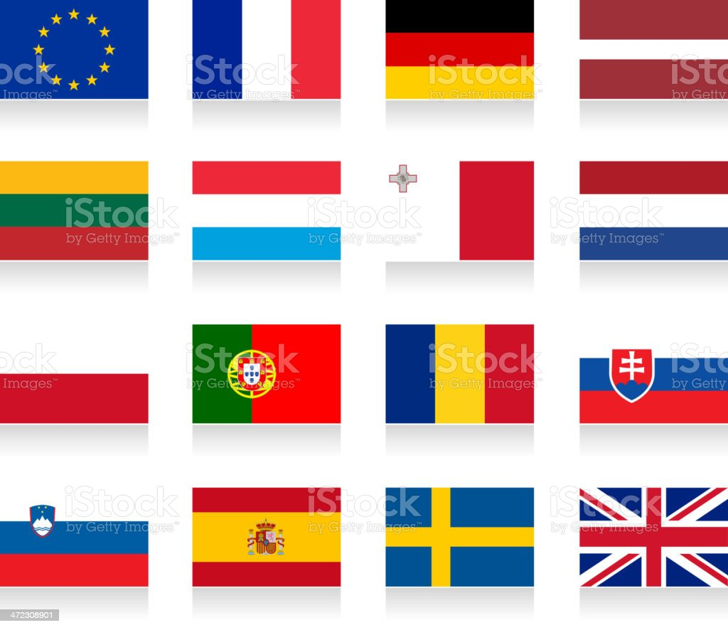 European union flag collection royalty-free stock vector art