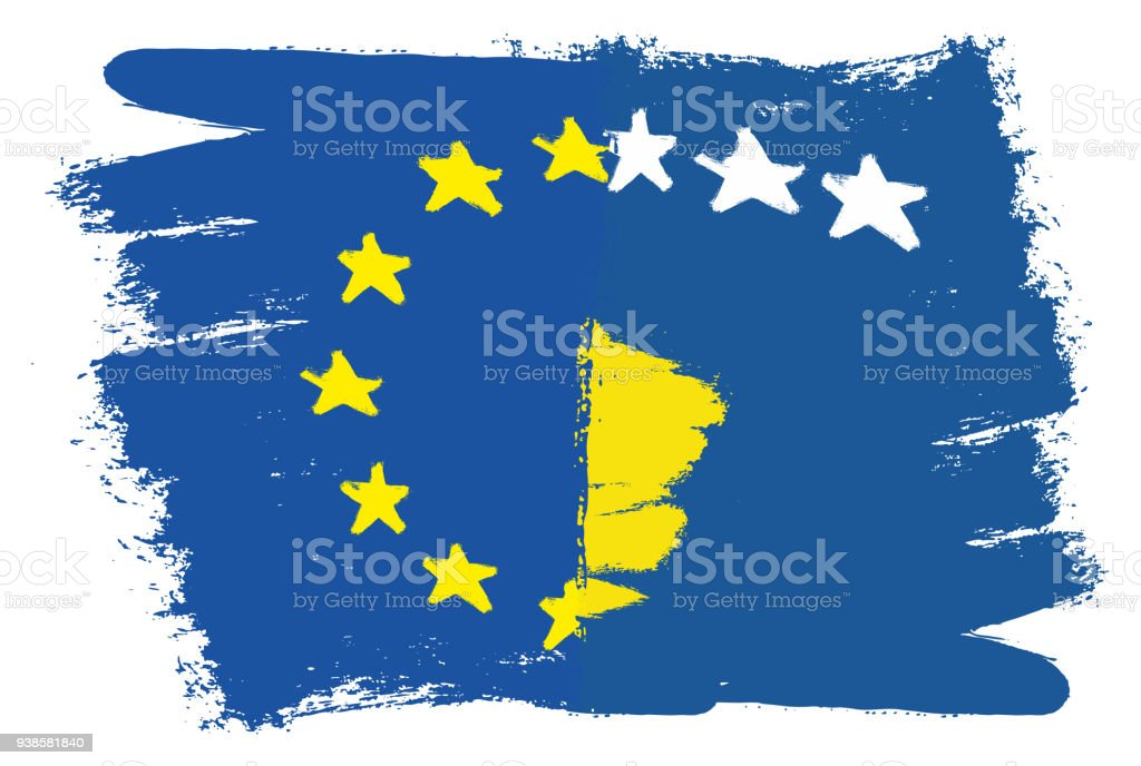 European Union Flag Kosovo Flag Vector Hand Painted With Rounded