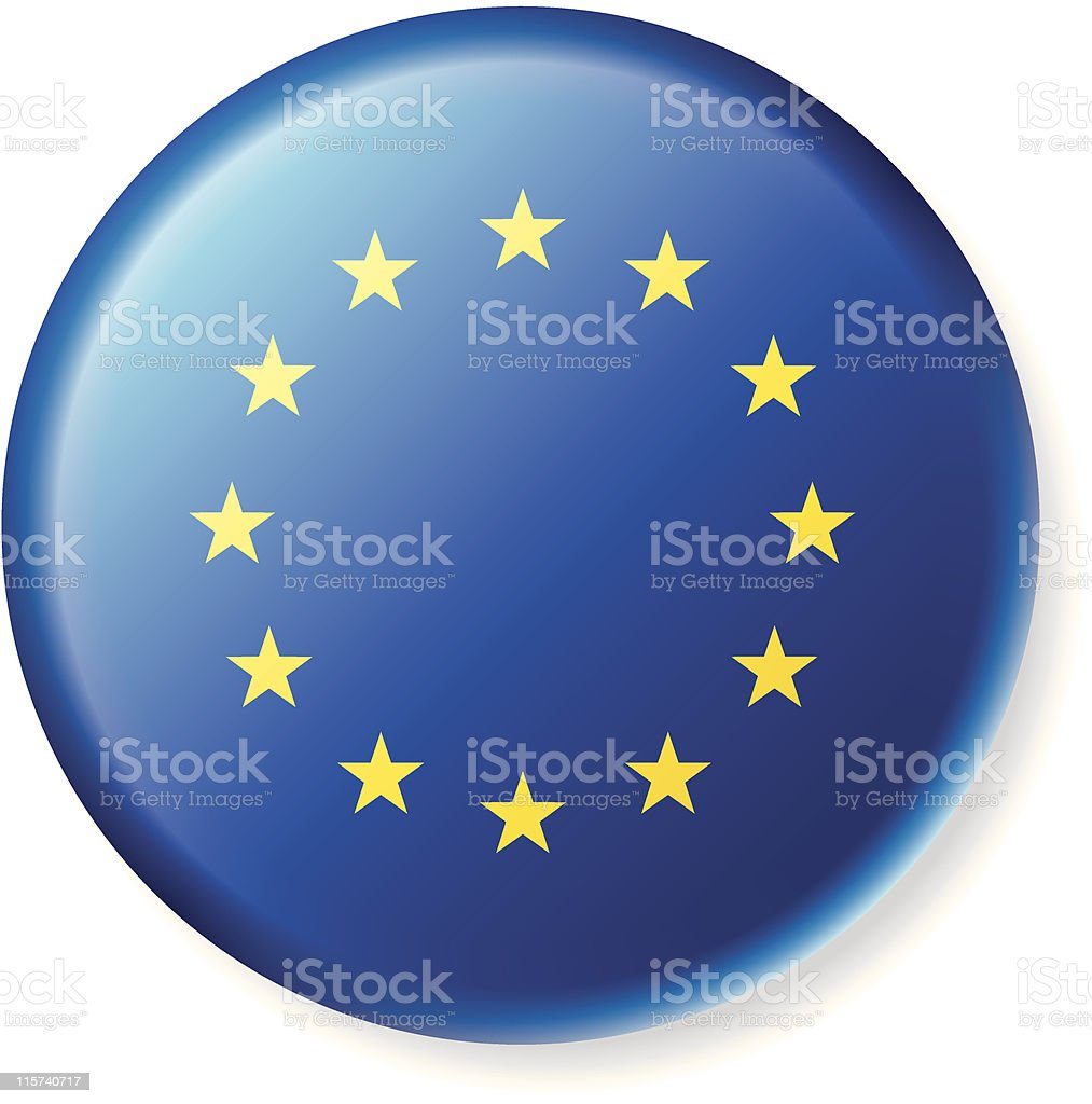 European Union Flag Satin Button royalty-free stock vector art