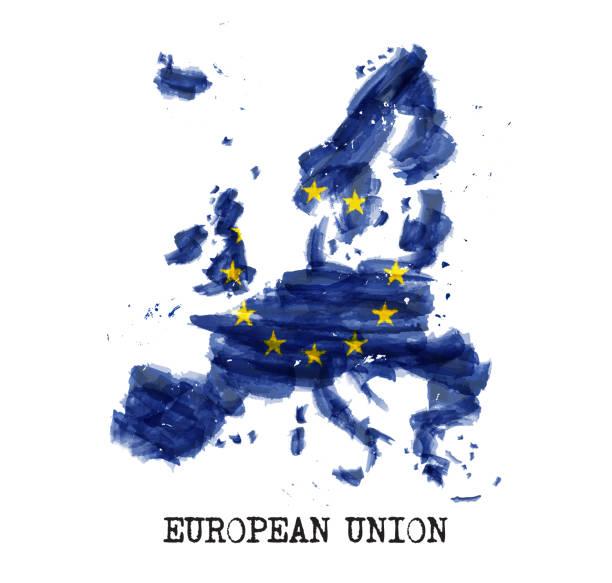 European union flag ( EU ) watercolor painting design . Country map shape . Vector vector art illustration