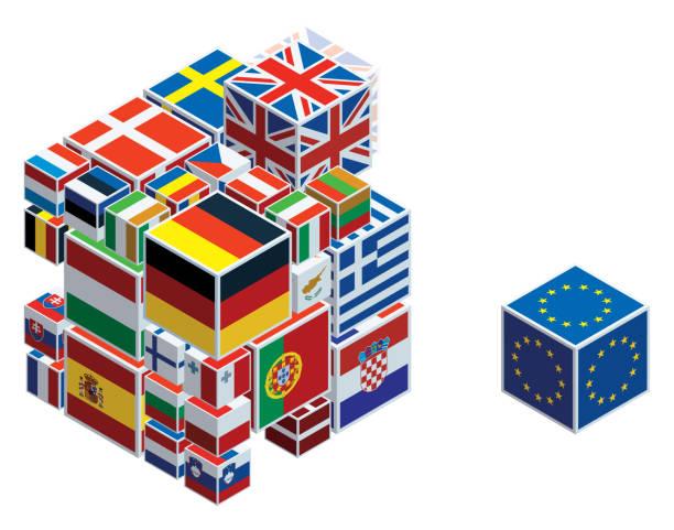 キューブに欧州連合の旗 - アイルランドの国旗点のイラスト素材/クリップアート素材/マンガ素材/アイコン素材
