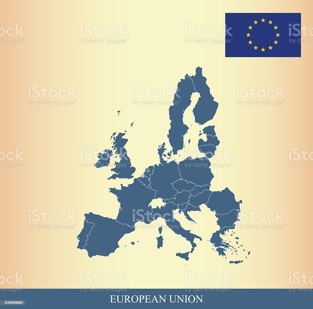 European Union Map And Flag Outline Vector Stock