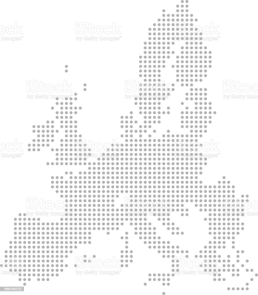 European Union Map Dots Vector Outline Dotted Map Point Patterns Map ...