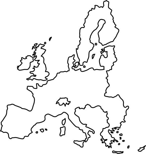 europäischen union karte des schwarzen konturkurven von vektor-illustration - südeuropa stock-grafiken, -clipart, -cartoons und -symbole