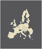 European Union map outline vector in gray background
