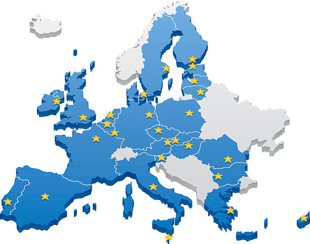 stockillustraties, clipart, cartoons en iconen met european union map - europe