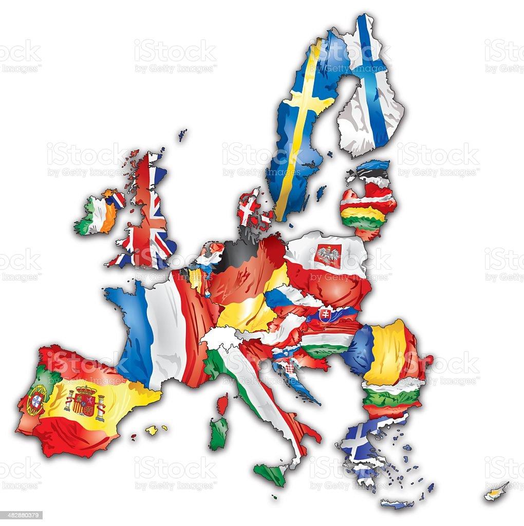Europäischen Union Karte mit Flaggen aller Länder – Vektorgrafik