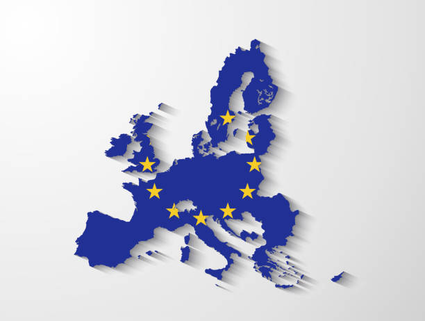 European Union map with shadow effect vector art illustration