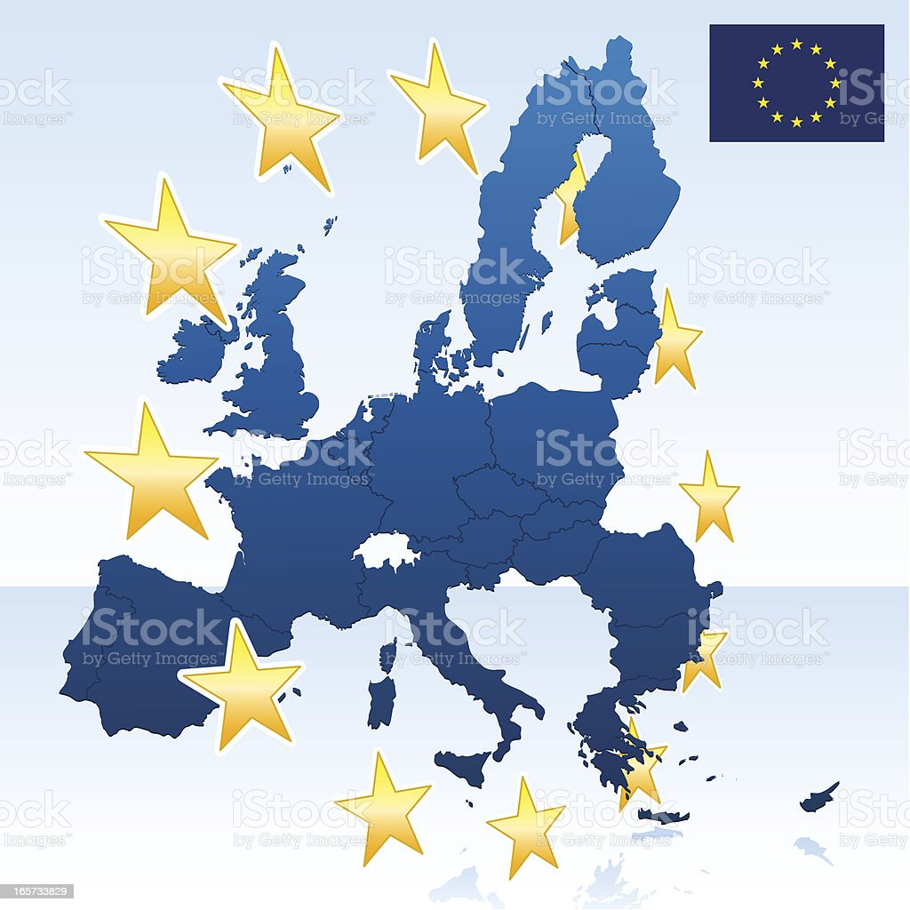 European Union map with stars vector art illustration