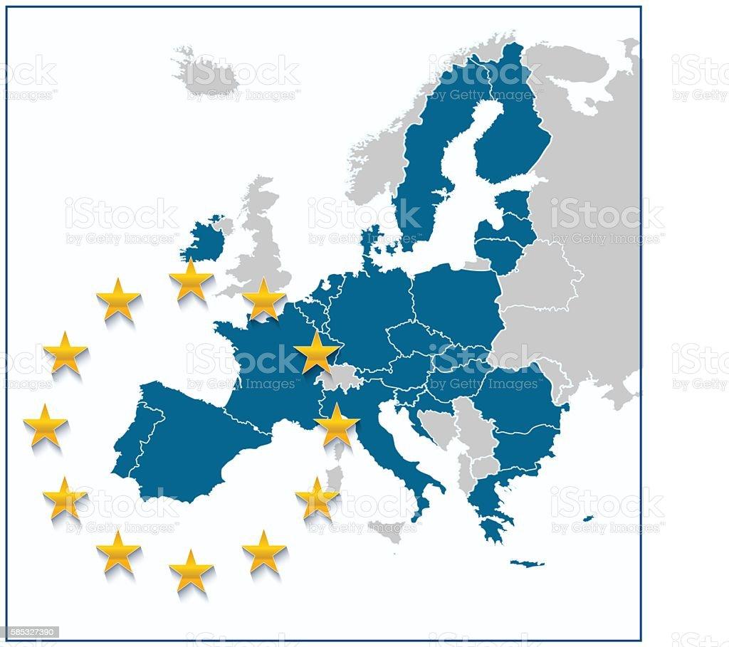 European Union Map Without Uk Stock Vector Art IStock - United kingdom europe map