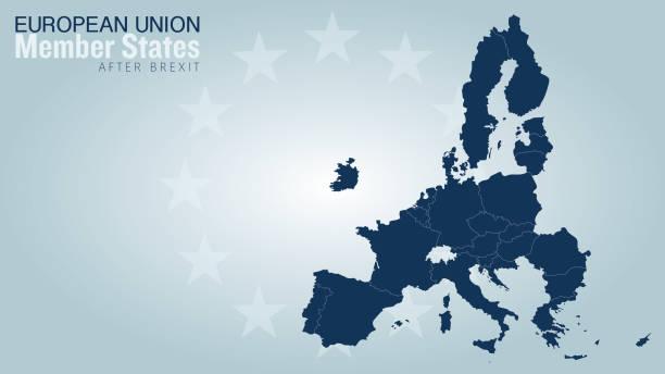 illustrations, cliparts, dessins animés et icônes de états membres de l'union européenne vecteur carte après brexit. - carte europe