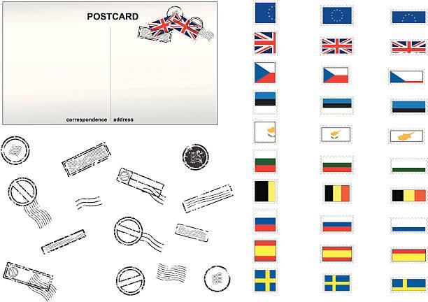 European Union Post Stamps No. 1 vector art illustration