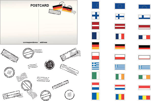 European Union Post Stamps No. 2 vector art illustration