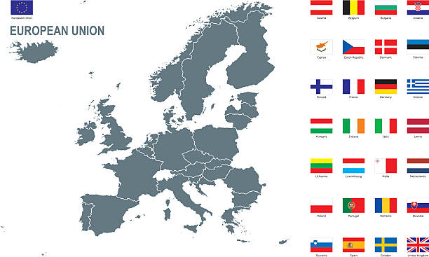 europäische union  - flagge polen stock-grafiken, -clipart, -cartoons und -symbole