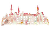 European watercolor townscape, vector illustration.