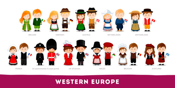 Europeans in national clothes. Western Europe. Set of cartoon characters in traditional costume. Cute people. Vector flat illustrations. welsh culture stock illustrations