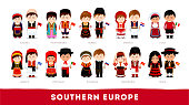 Southern Europe. Set of cartoon characters in traditional costume. Cute people. Vector flat illustrations.