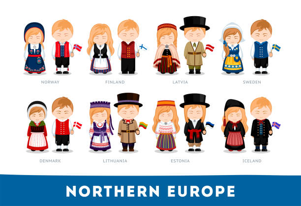 Europeans in national clothes. Northern Europe. Set of cartoon characters in traditional costume. Cute people. Vector flat illustrations. norway stock illustrations