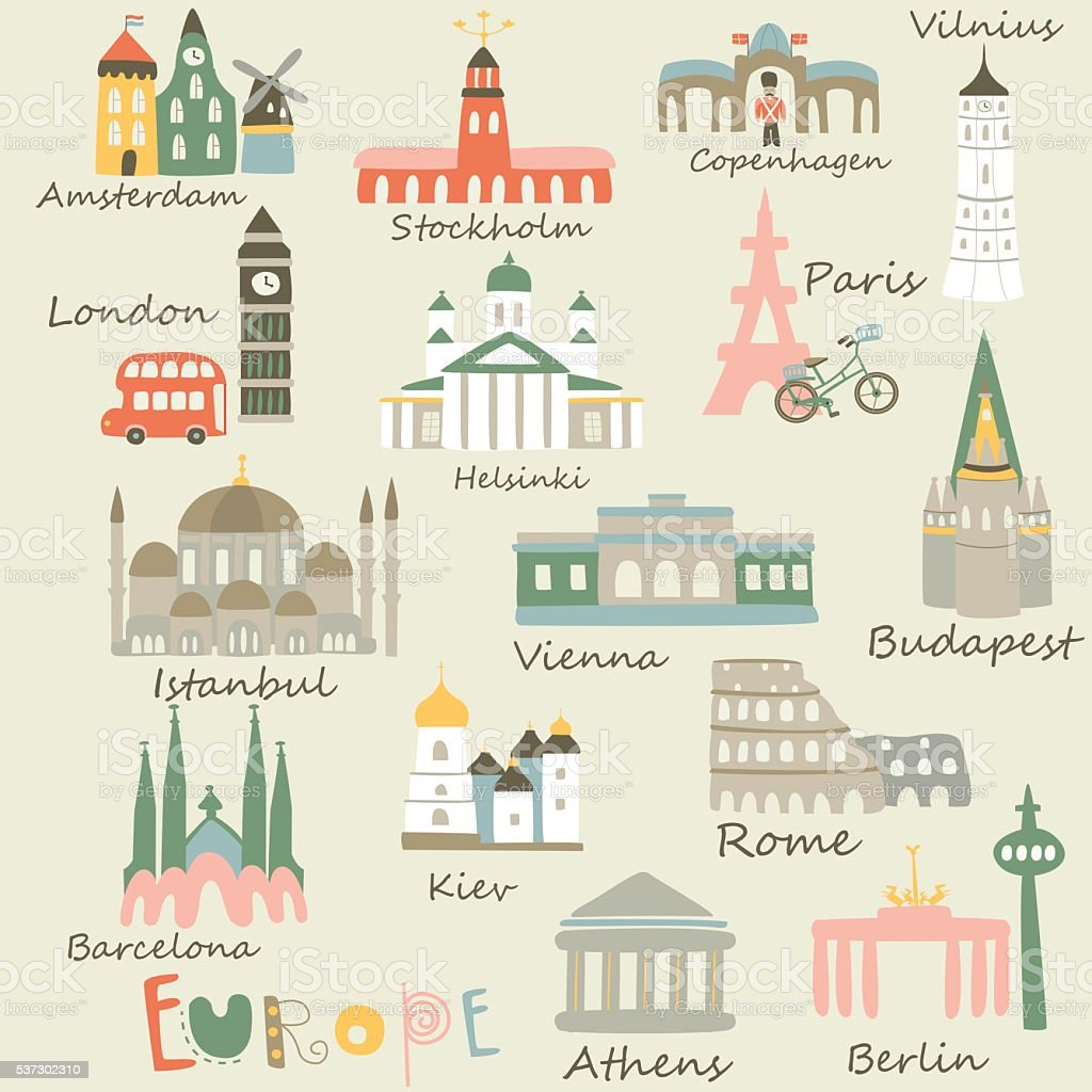 europecitiesmany vector art illustration