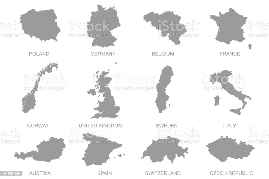 Europian maps set vector art illustration