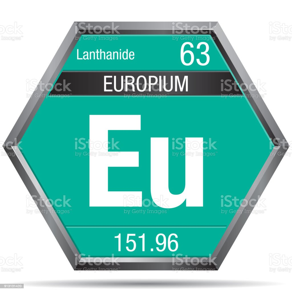Europium Symbol In The Form Of A Hexagon With A Metallic Frame