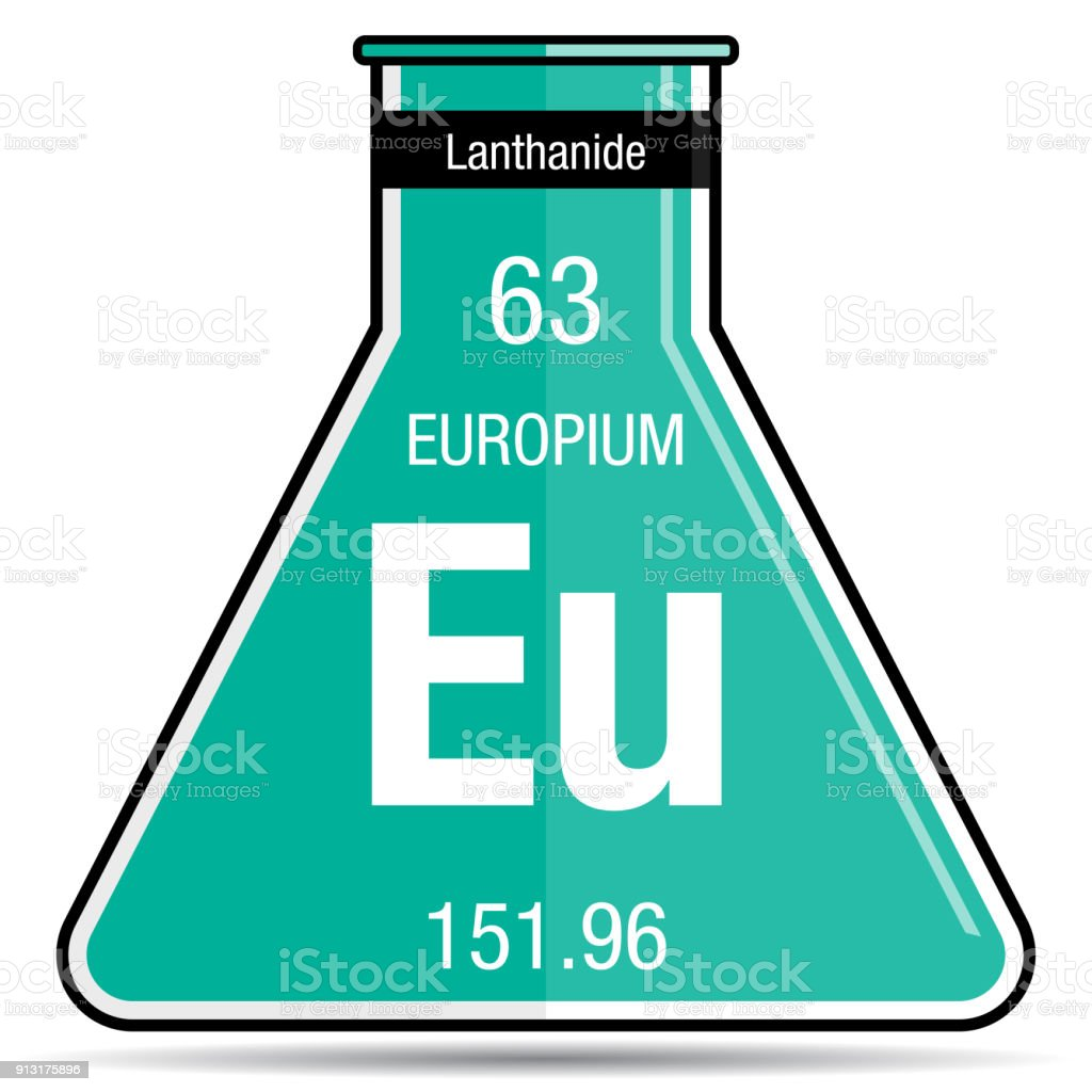 Europium Symbol On Chemical Flask Element Number 63 Of The Periodic