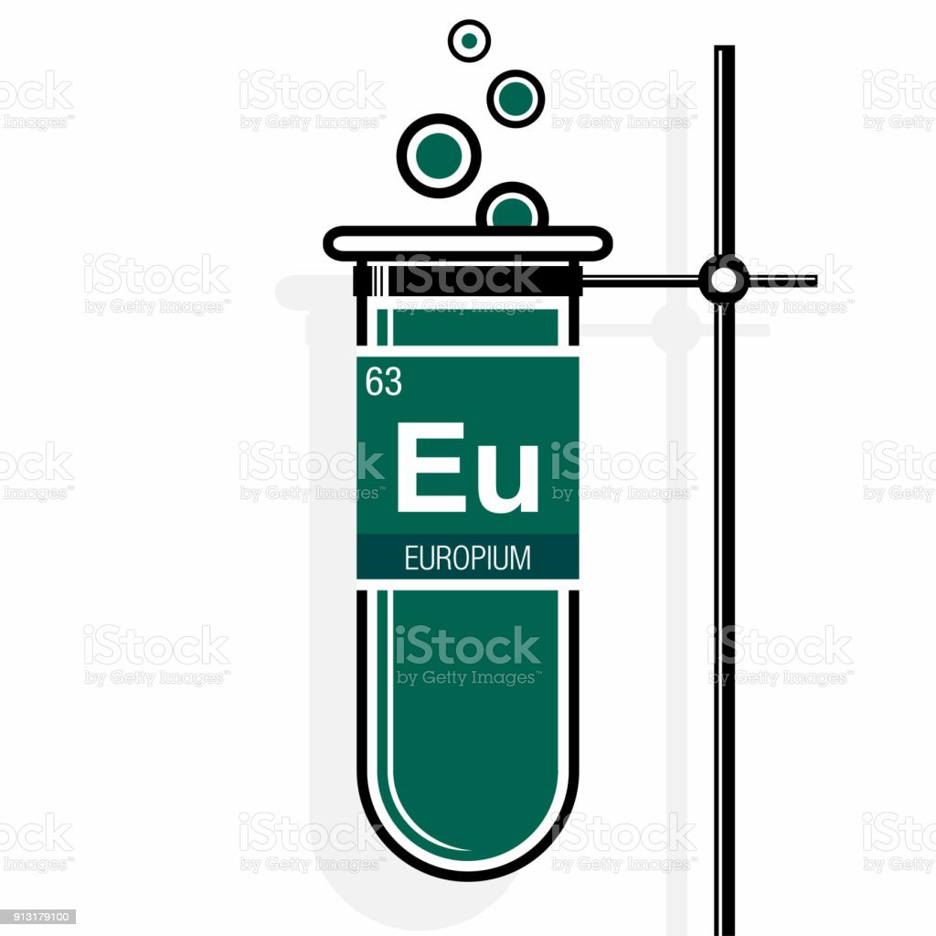 Europium Symbol On Label In A Green Test Tube With Holder Element