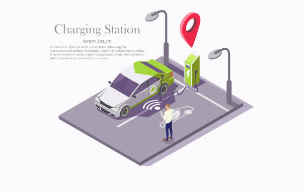 Ev charging station technology vector web banner template Charging station vector web banner template. Isometric electric recharging point, car and man with mobile phone. Electric vehicle charging technology, mobile app to find ev charging station concept. hybrid vehicle stock illustrations