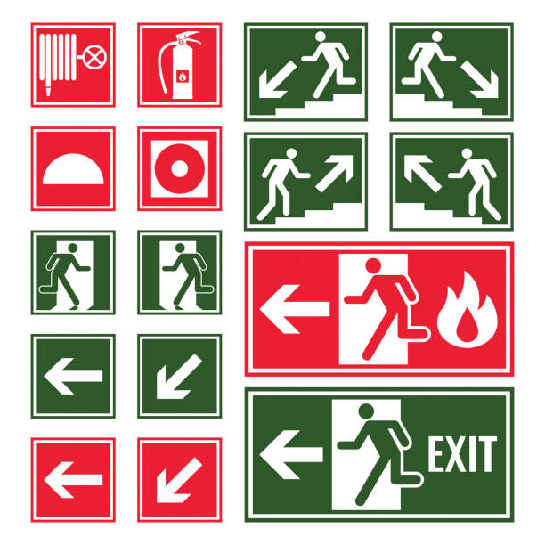 Evacuation and emergency signs in green and red colors vector art illustration