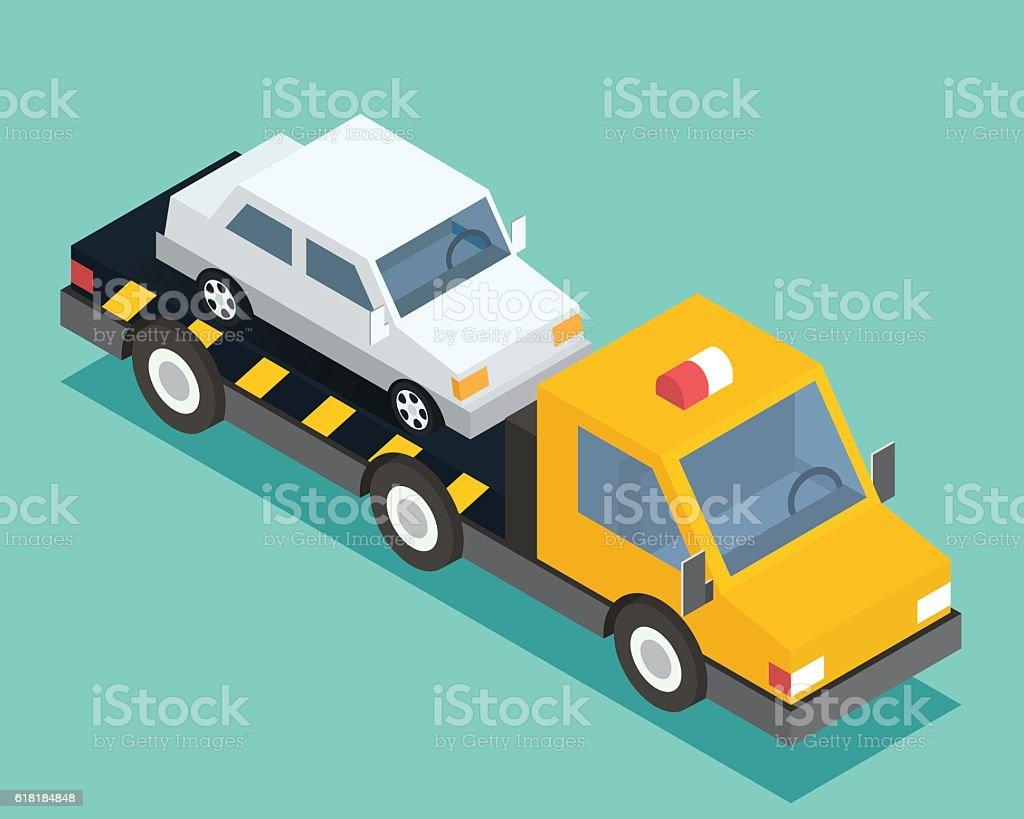 Evacuation isometric car, road assistance service help. Evacuator tow track vector art illustration