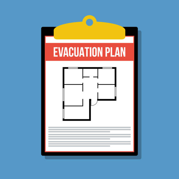 evacuation plan in clipboard, vector flat illustration evacuation plan in clipboard, vector flat illustration accidents and disasters stock illustrations