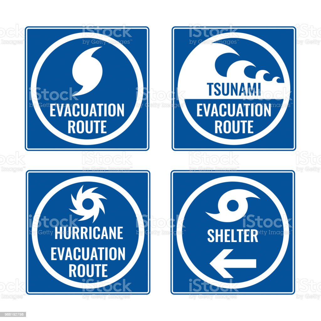 Evacuation route and shelter in case of tsunami or hurricane vector art illustration