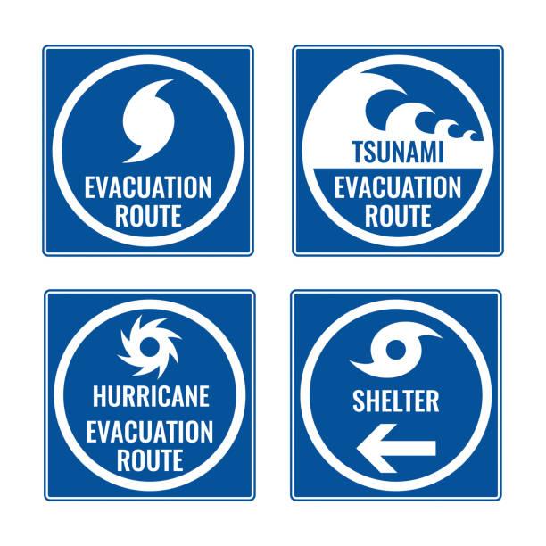 ilustraciones, imágenes clip art, dibujos animados e iconos de stock de ruta de evacuación y refugio en caso de tsunami o huracán - hurricane