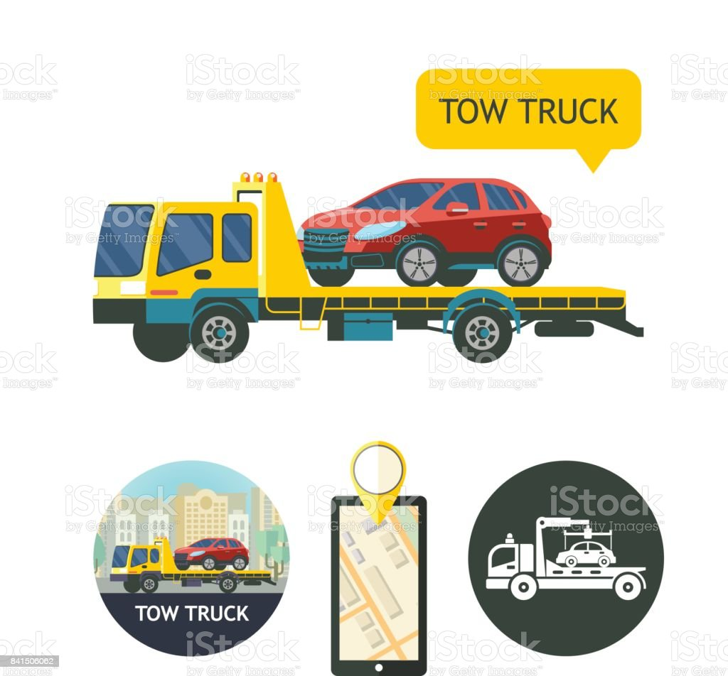 evacuation vehicles tow truck for transportation faulty cars design